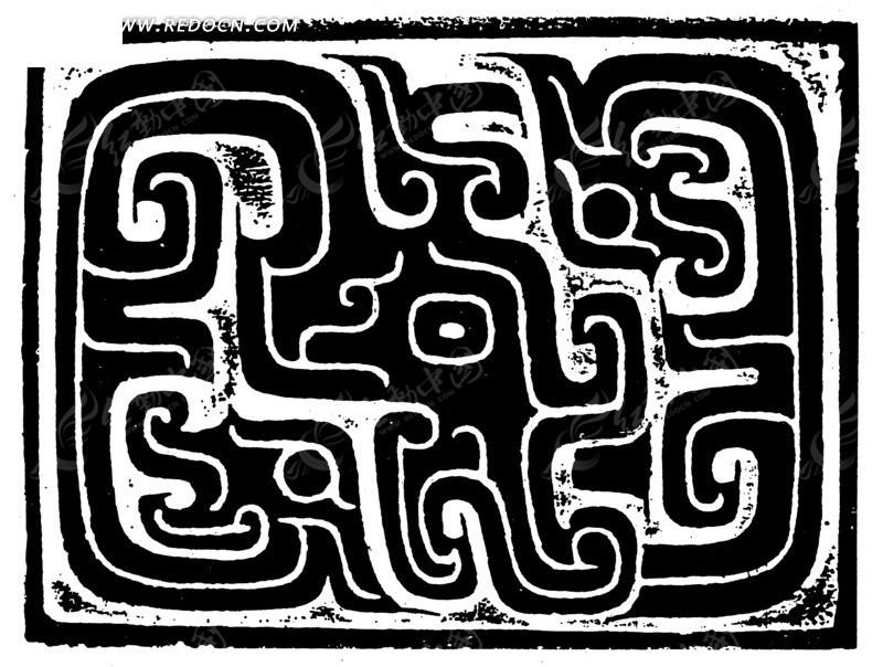 中国古典图案-卷曲纹凤纹构成的方形图案图片