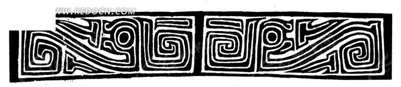 抽象龙纹 回纹 拙朴 图案 中国风 中国古典 艺术 装饰 黑白  传统图案