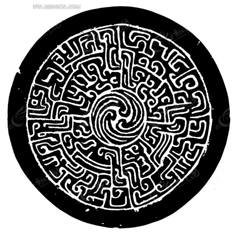 中国古典图案-中心卷浪圆形龙纹青铜器图案