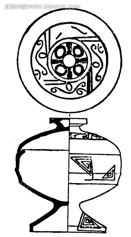 中国古代器物-圆形和曲线构成的古物上的图案