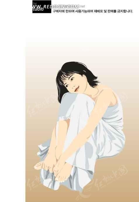 头靠着膝盖的卡通美女图片