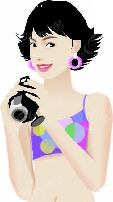 拿着相机的卡通美女AI素材免费下载 红动网