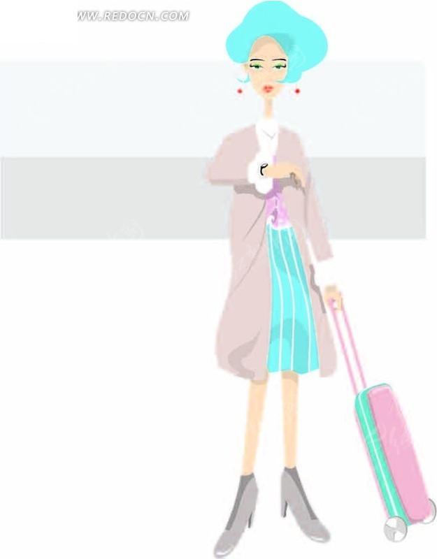 托着行李箱的卡通美女