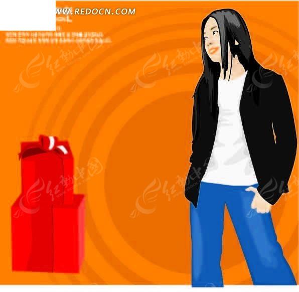 礼盒 插画 卡通人物 卡通人物图片
