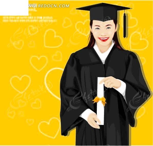 穿着学士服的卡通美女ai素材免费下载_红动网