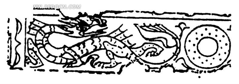 中国古典图案-龙纹和圆形构成的斑驳的图案