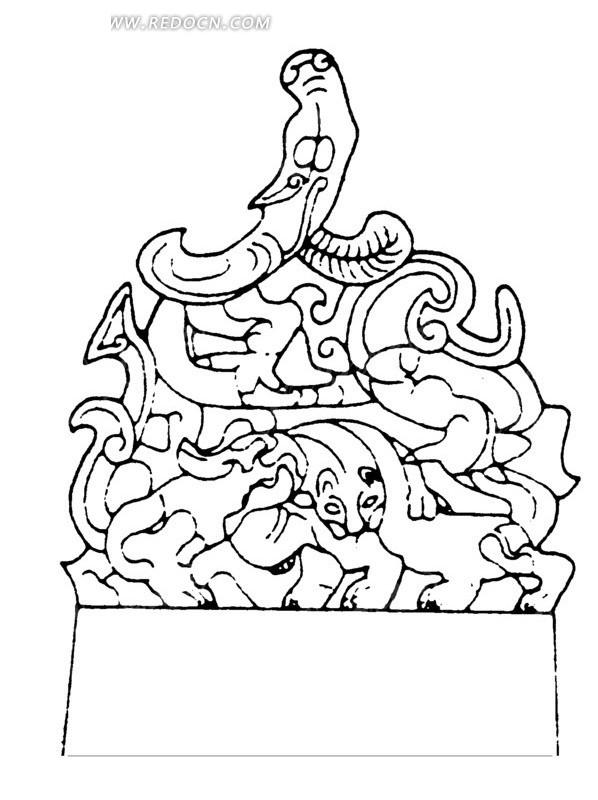 中国古代器物-许多叠在一起的动物