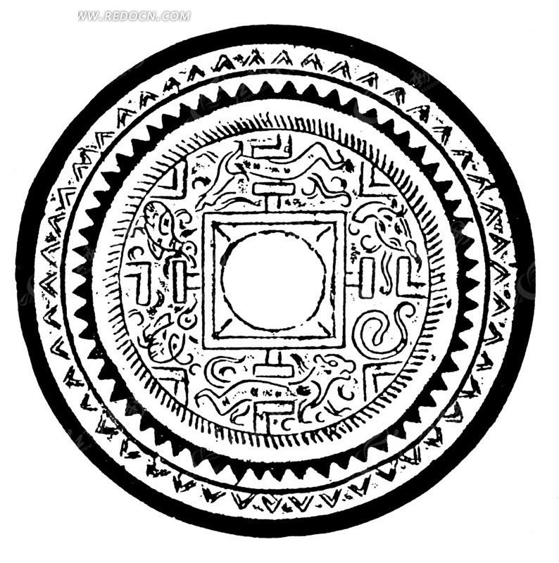 中国古典图案-动物和三角形构成的斑驳的圆形图案