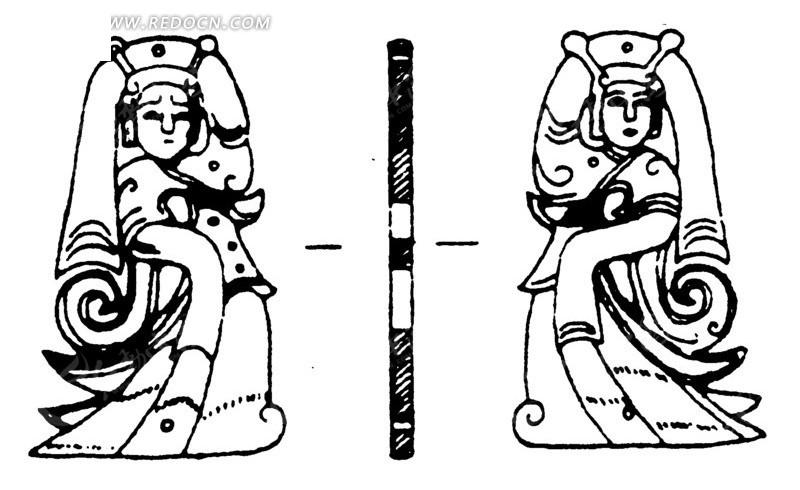 中国古代雕刻-举起一只手的女子