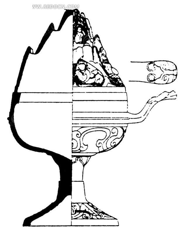 卷曲纹几何线龙形柄构成的香炉形古器图