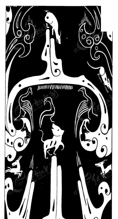 矢量素材 艺术文化 传统图案 中国古典图案-动物飞鸟和卷曲纹构成的