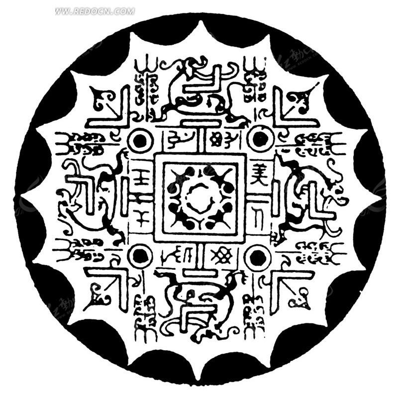 圆形图案 斑驳 中国风 中国古典 艺术 装饰 黑白  传统图案 矢量素材