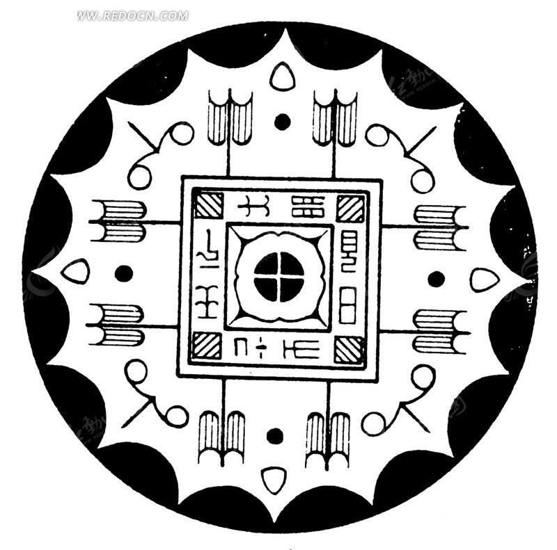 中国古典图案-几何形和文字构成的圆形图案