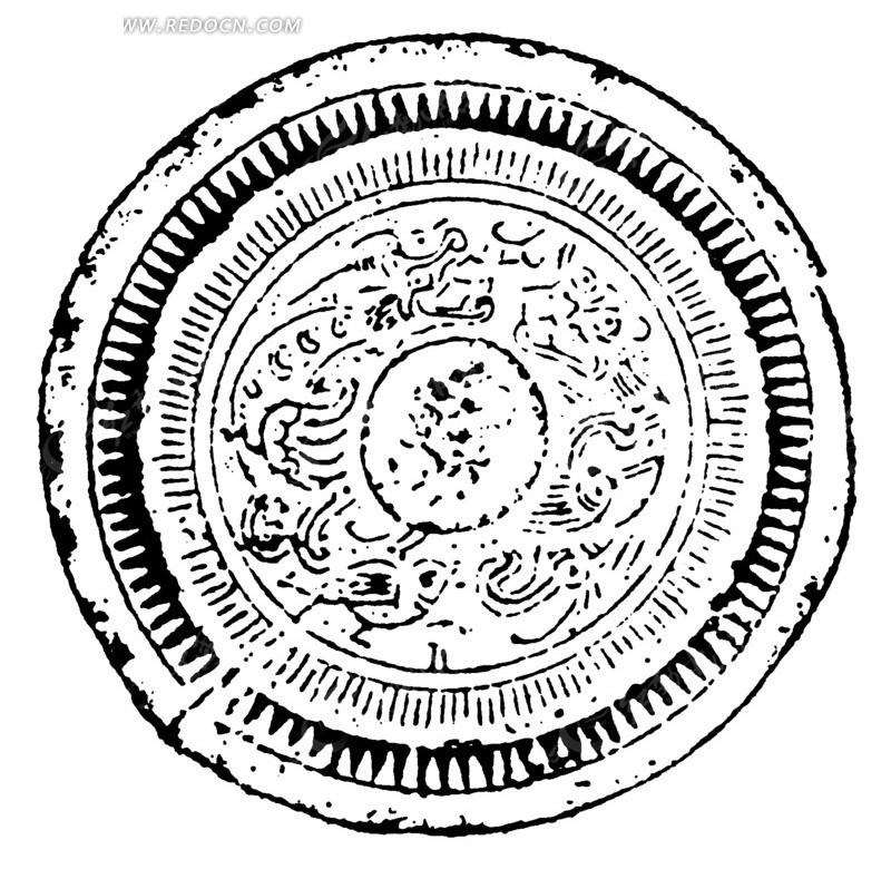 中国古典图案-不规则线条构成的斑驳模糊的圆形图案