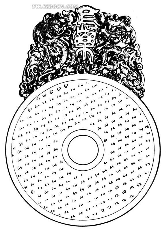 中国古代器物-环形上的斑驳的龙纹和文字矢量图图片
