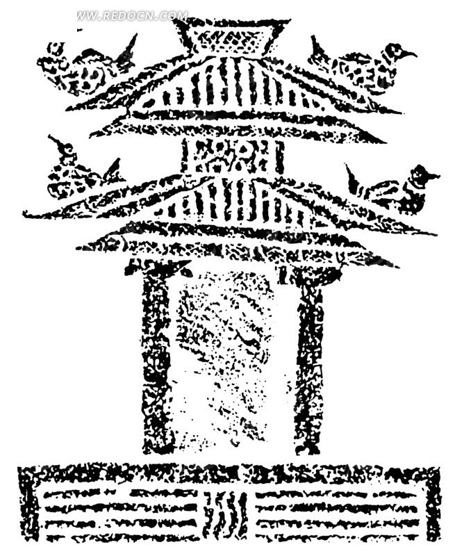 中国古典图案-建筑物上的飞鸟构成的斑驳的图案上