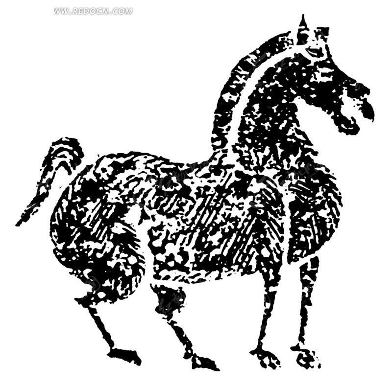 黑白手绘关公战马图