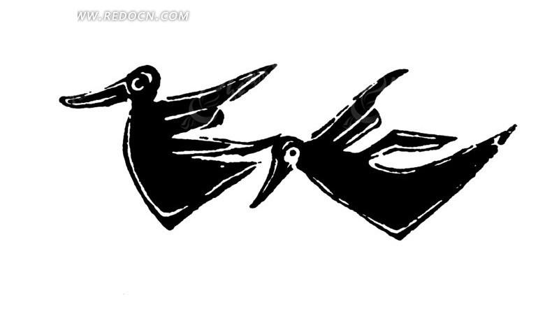 矢量手绘古代飞翔的鸟儿插画图形