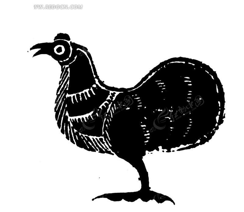 矢量手绘公鸡插画剪影