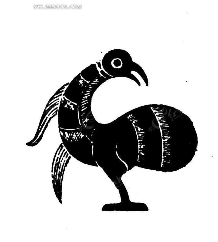 白色背景 黑色鸟儿剪影 手绘插画 矢量文件 传统图案 矢量素材