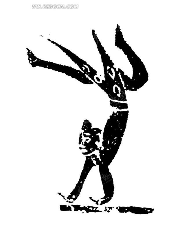 手绘在地上倒立的古代杂耍师傅黑白矢量素材