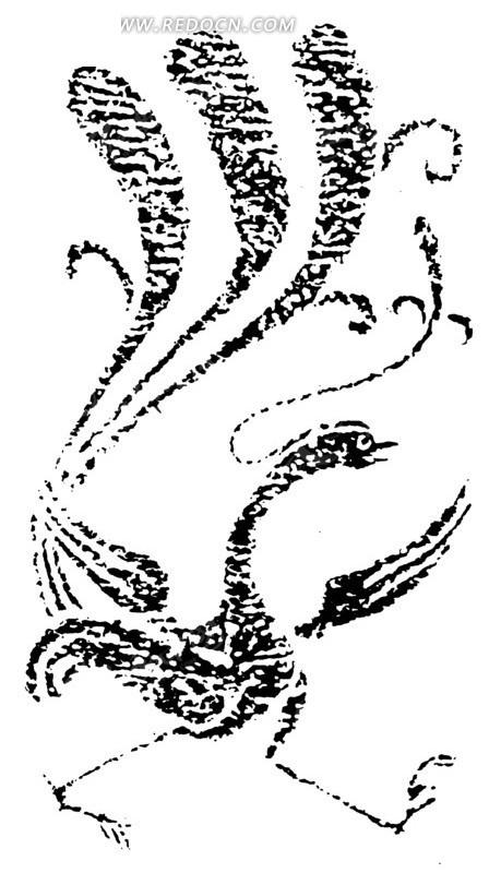 手绘 凤凰 长尾祥风  传统图案 矢量素材
