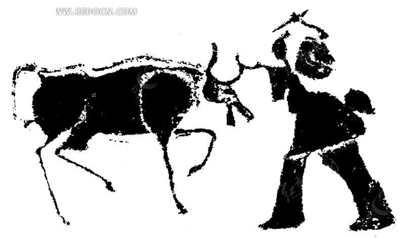 矢量古代赶牛的动物插画剪影