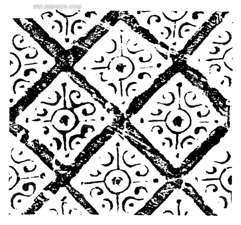 古代花纹图案素材矢量图 传统图案