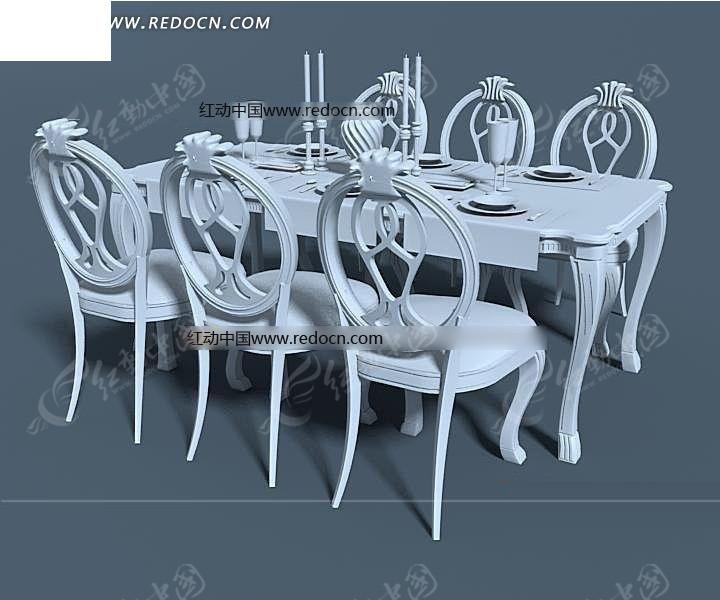 6座欧式方餐桌镂空圆形靠背椅模型