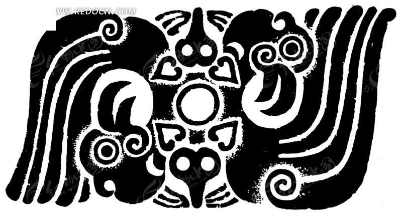 两只鸳鸯黑色剪纸图案
