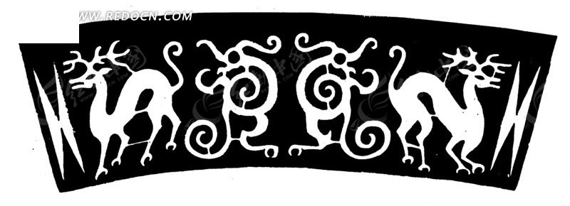 黑底白印的动物纹理图案