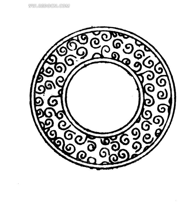 矢量圆形古代花纹器皿矢量图图片