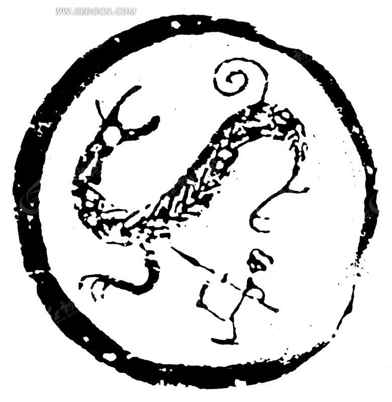 中国古典图案-斗兽纹构成的斑驳圆形图案