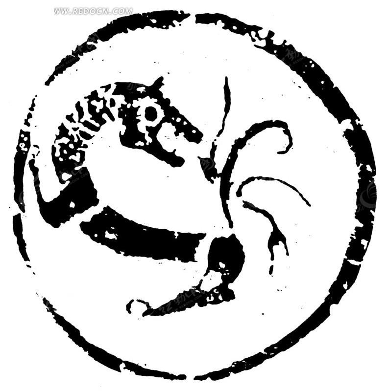 中国古典图案-回头虎纹斑驳圆形图案