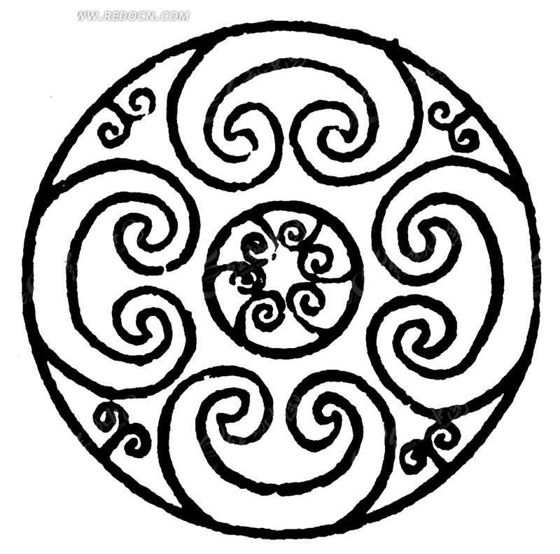 中国古典图案-卷曲纹构成的圆形图案