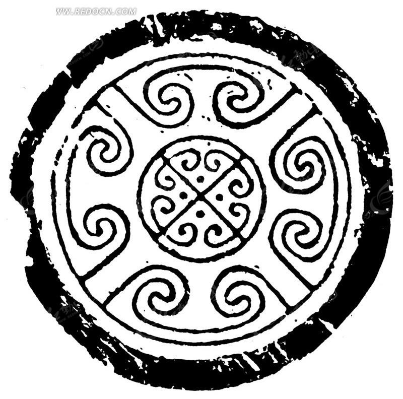 中国古典图案-卷曲纹叉线点构成的斑驳圆形图案