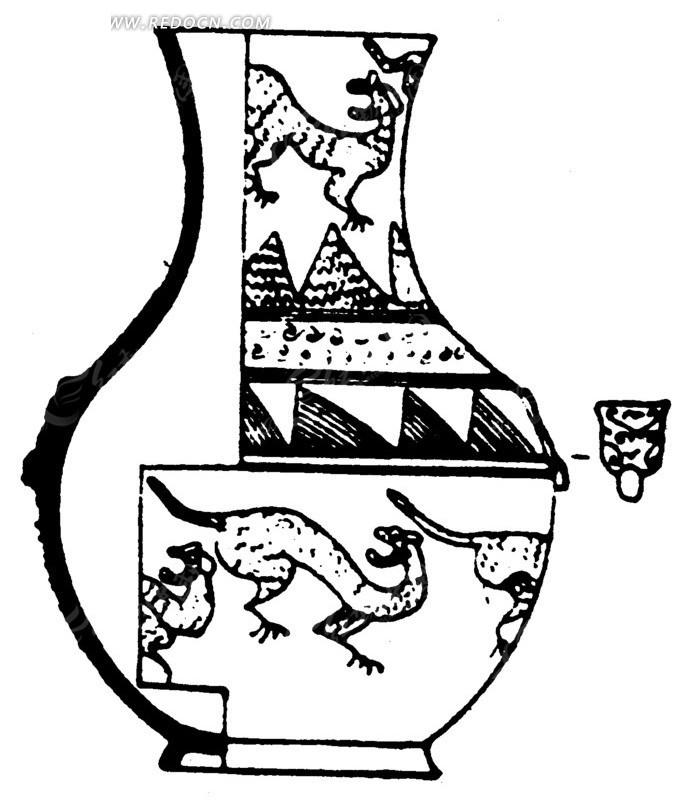 古代瓷器花瓶矢量素材AI免费下载 红动网