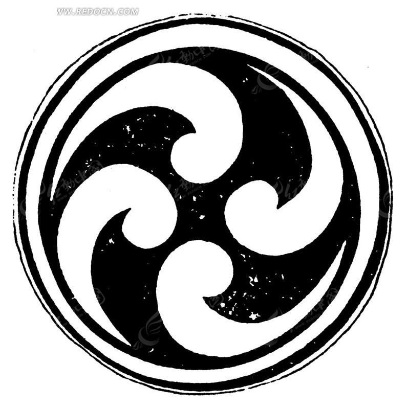 免费素材 矢量素材 艺术文化 传统图案 环纹卷曲涡纹构成的圆形图案图片
