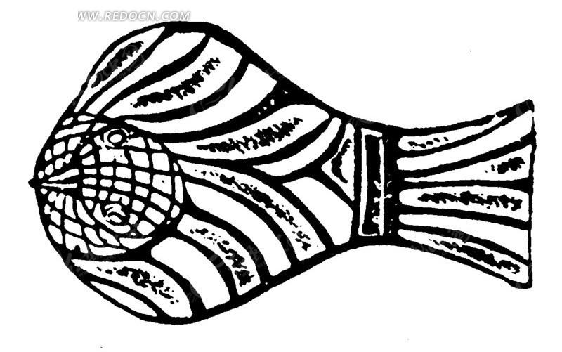 古代鱼型器具矢量素材; 手绘俯瞰的鸟黑色线条矢量素 传统图案 纹样