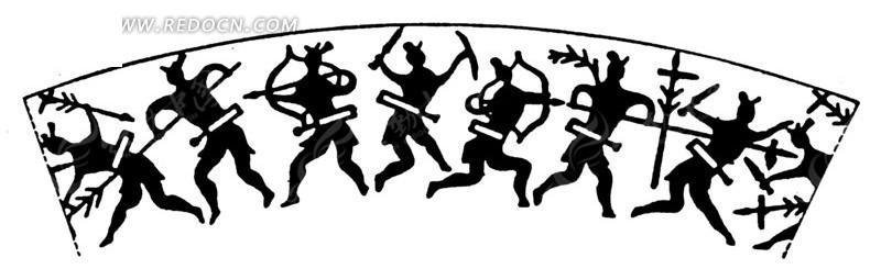 手绘古代战士战斗的黑白矢量图案
