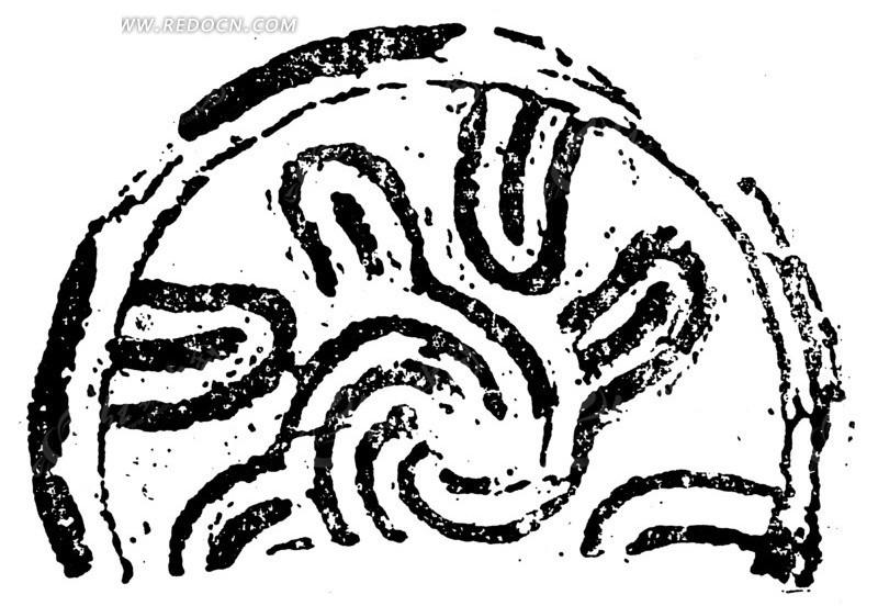 中国古典图案-粗线条曲线纹构成的斑驳半圆图案
