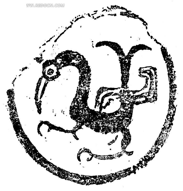 免费素材 矢量素材 艺术文化 传统图案 中国古典图案-鸟形动物纹的