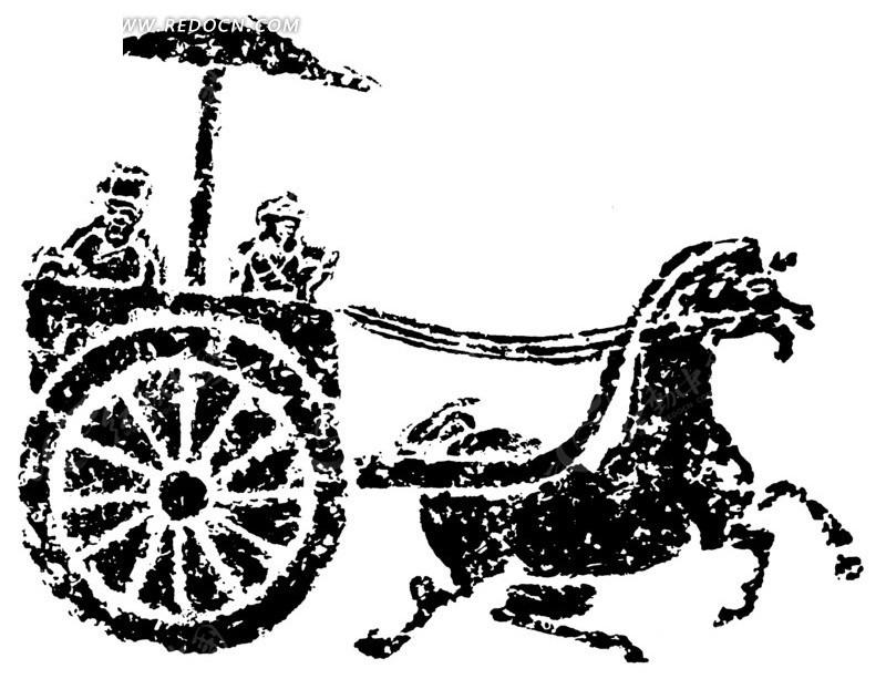 矢量拉马车的古代图形矢量图图片