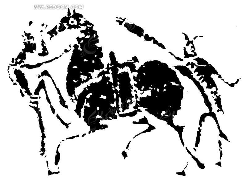 古代骑马矢量人物线描图案