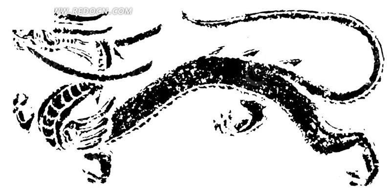黑色古代龙形图案