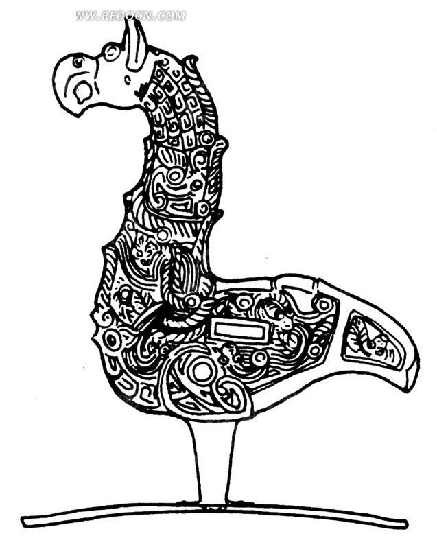 手绘古代木马玩具黑白矢量图案设计图片; 中国古代器物-鸟形古物上的