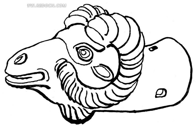 手绘公绵羊头黑色线条矢量素材