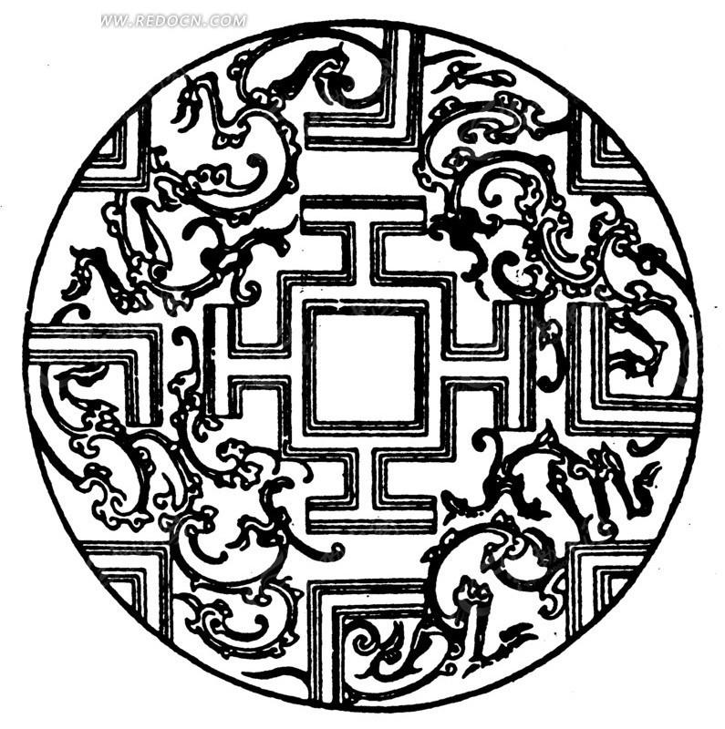 中国古典图案-卷曲纹和直线构成的圆形图案图片