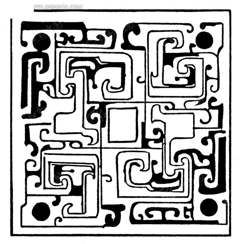 中国古典图案-卷曲纹和线条构成的方形图案图片