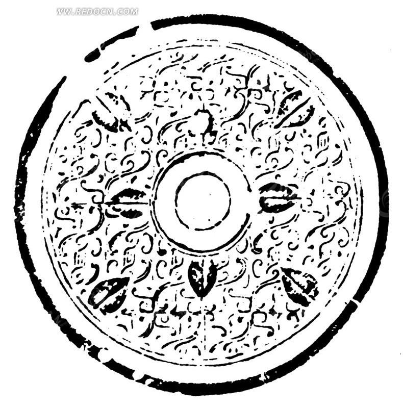 中国古典图案-曲线和几何形构成的斑驳模糊的圆形图案